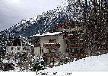 Alpine chalets in the French ski resort, Chamonix