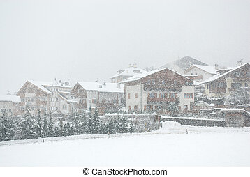 Alpine Chalets, Northern Italy - Chalets, during a snowstorm...