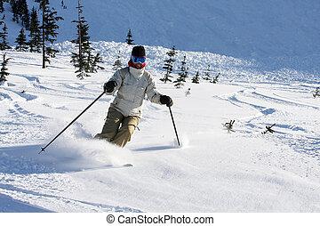 Alpine free ski - A smiling woman skiing on fresh powder