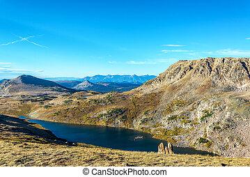 Beautiful alpine lake in the Beartooth Mountains in Montana, USA