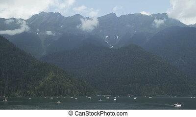 Alpine Lake Ritsa summer, Abkhazia. - Alpine Lake in the...