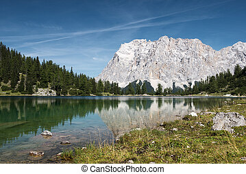 alpine lake seebensee with wetterstein mountain at fall