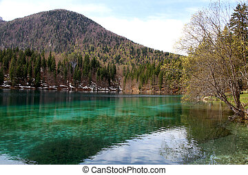 Alpine Lake with crystal clear water and the mountains 3 -...