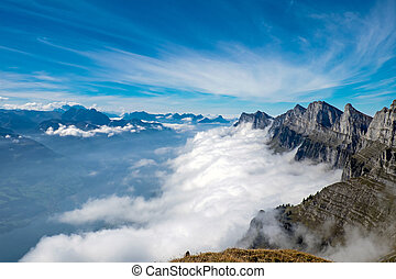 Alpine landscape in Switzerland - Alpine landscape with the ...