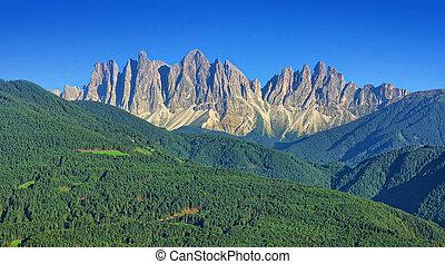 Alpine landscape of Dolomites mountain peaks in Italy, Val di Funes