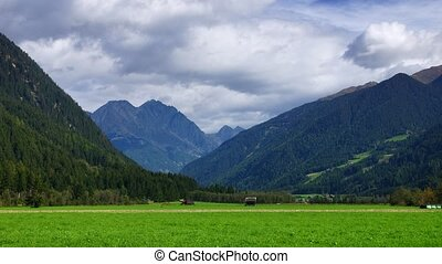 Alpine landscape - Panoramic time-lapse of landscape in...