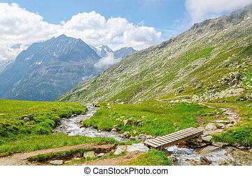 Alpine landscape with a mountain brook in Austria