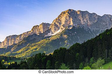 Alpine morning sunlit scenery in national park Berchtesgaden