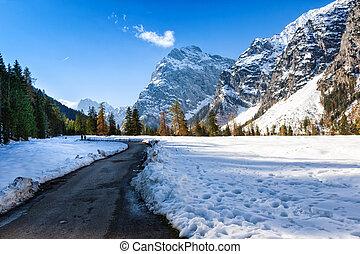 Alpine mountain landscape in the late autumn season.