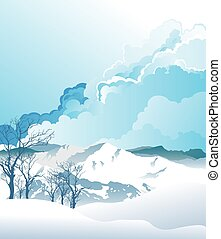 Alpine mountain scene - Picturesque rural snow covered ...