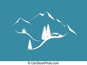 alpine mountain scenery with hut and firs
