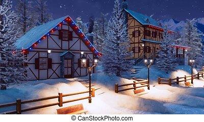 Alpine mountain village at snowfall winter night 4K - Cozy...
