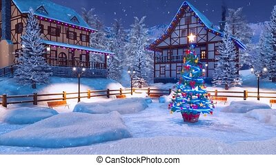 Alpine mountain village at snowy Christmas night - Magical...