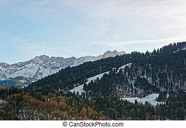 Alpine mountains at winter Garmisch Partenkirchen