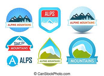 Alpine Mountains Logos - Alpine Mountains, Set of Vector...