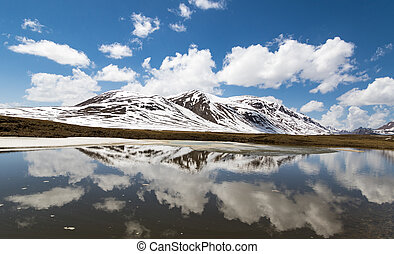Alpine mountains reflected in lake