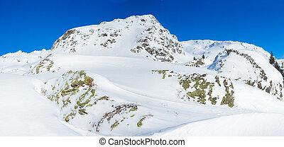 Alpine mountains under the snow in winter