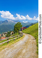Alpine panorama in summer time, sunny day