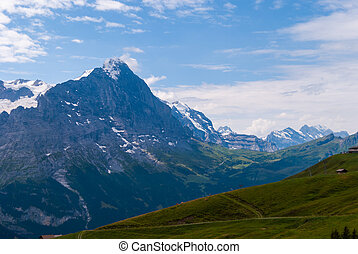 Alpine panorama of the Northern wall of the peak Eiger, Grindelwald, Bernese Alps, Switzerland, Europe