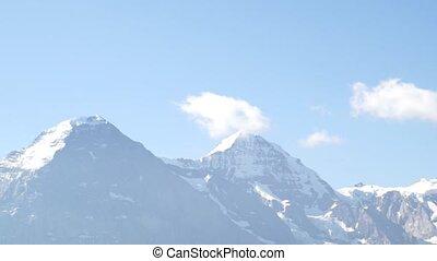 Alpine peaks landskape background. Jungfrau, Bernese highland. Alps, tourism and adventure hiking concept