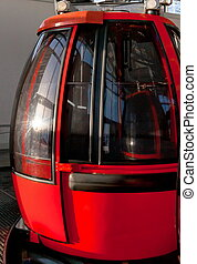 Alpine red cable-car