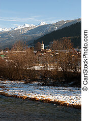 Alpine Scene, Northern Italy - A small village beside a ...