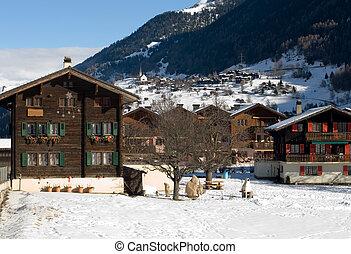 Alpine Scene, Switzerland - A pretty alpine village, ...