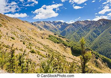 Beautiful alpine landscape scenery in Central Otago, Southern Alps, New Zealand