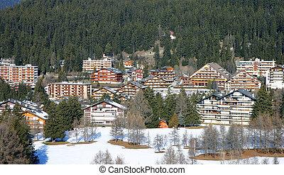 Alpine ski resort - Aerial view of an alpine ski resort...