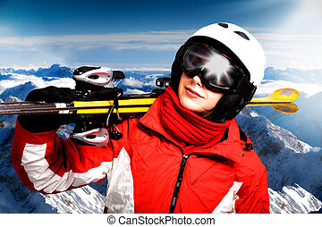 alpine skiing - A alpine skier on the piste. Alps in the ...