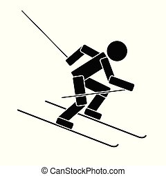 Alpine skiing. Flat icon