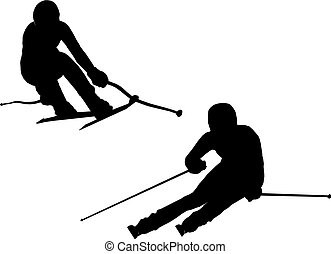 Illustration of alpine skiing