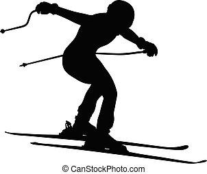 alpine skiing men jump downhill black silhouette