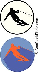 alpine skiing vector flat design icon