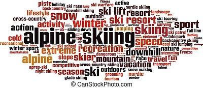 Alpine skiing word cloud concept.