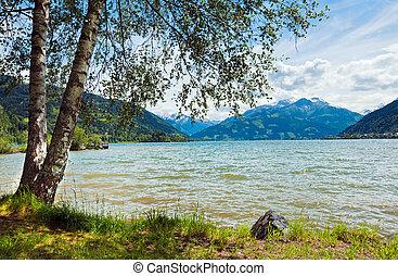 Alpine summer lake view