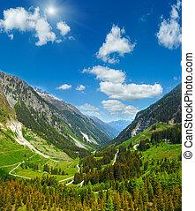 Summer mountain sunshiny view from Kaunertaler Gletscherstrasse (Kaunertal, Austria, Tirol).