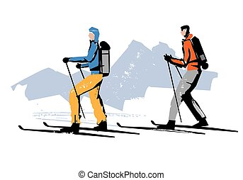A stylized drawing of two alpine touring skiers. Vector available.