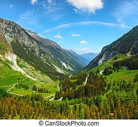 Summer mountain view from Kaunertaler Gletscherstrasse (Kaunertal, Austria, Tirol). Two shots stitch image.