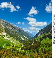 Summer mountain view from Kaunertaler Gletscherstrasse (Kaunertal, Austria, Tirol).