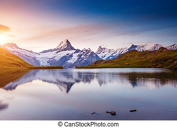 Alpine view of the Mt. Schreckhorn and Wetterhorn. Location...