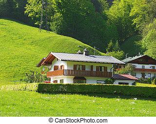 Alpine Village - Alpine village. Spring in the Austrian Alps