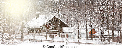 winter Alpine landscape with house and trees. Long wide banner