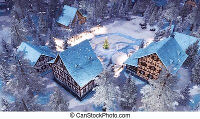Alpine village at snowy Christmas night top view - Top down...