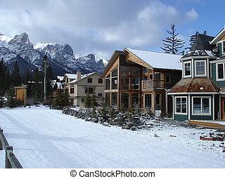Homes in the Jasper, Alberta area, in the winter