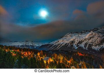 Alpine village night