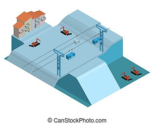 Alpine village with houses, mountain snowy slopes, ski lifts and snowmobiles. Isometric illustration