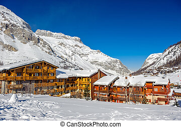 Alpine winter mountain landscape. French Alps with snow. - ...