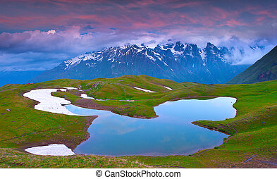 alpiner see, in, der, caucasus, berge.