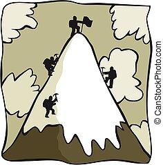 alpiniści, rysunek